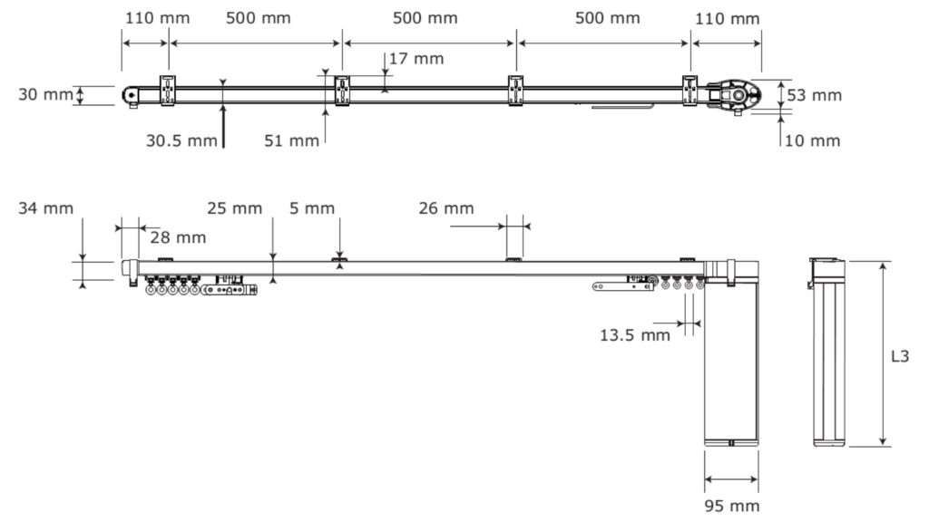 Wymiary szyn elektrycznych Somfy | Decoexpert